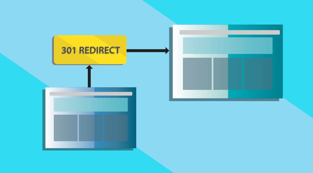 graphic of a webpage being redirected to a new page via 301 redirect