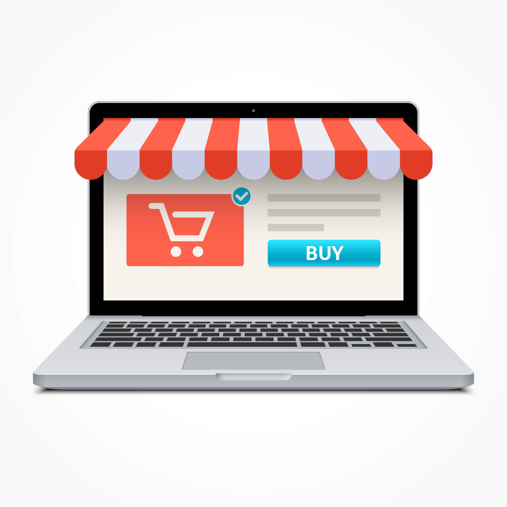 shopping concept on google my business logo on laptop