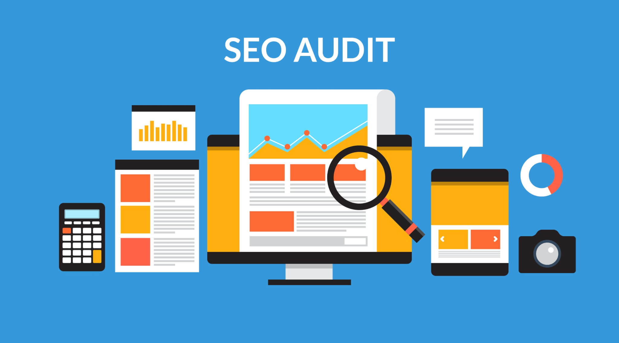 graphic outlining different components of a website audit