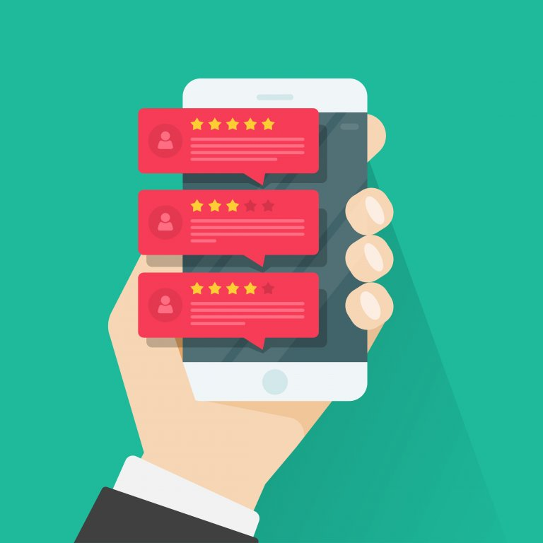 online reviews on a mobile device