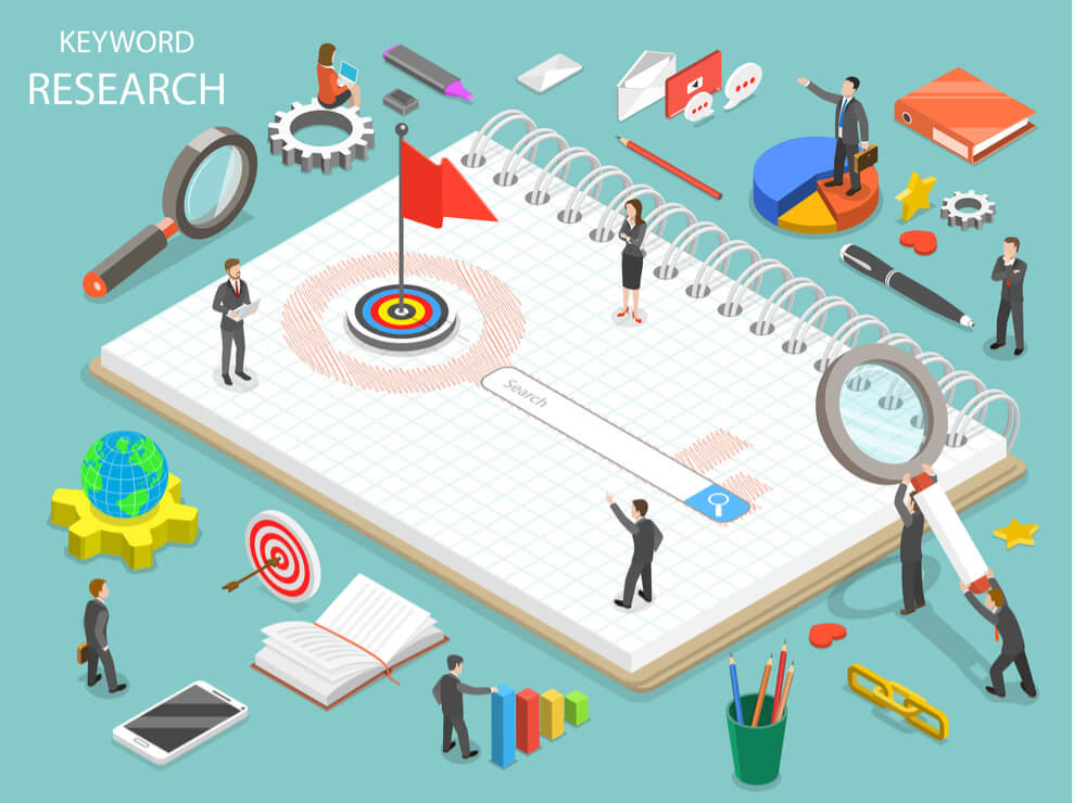 keyword research graphic with concepts