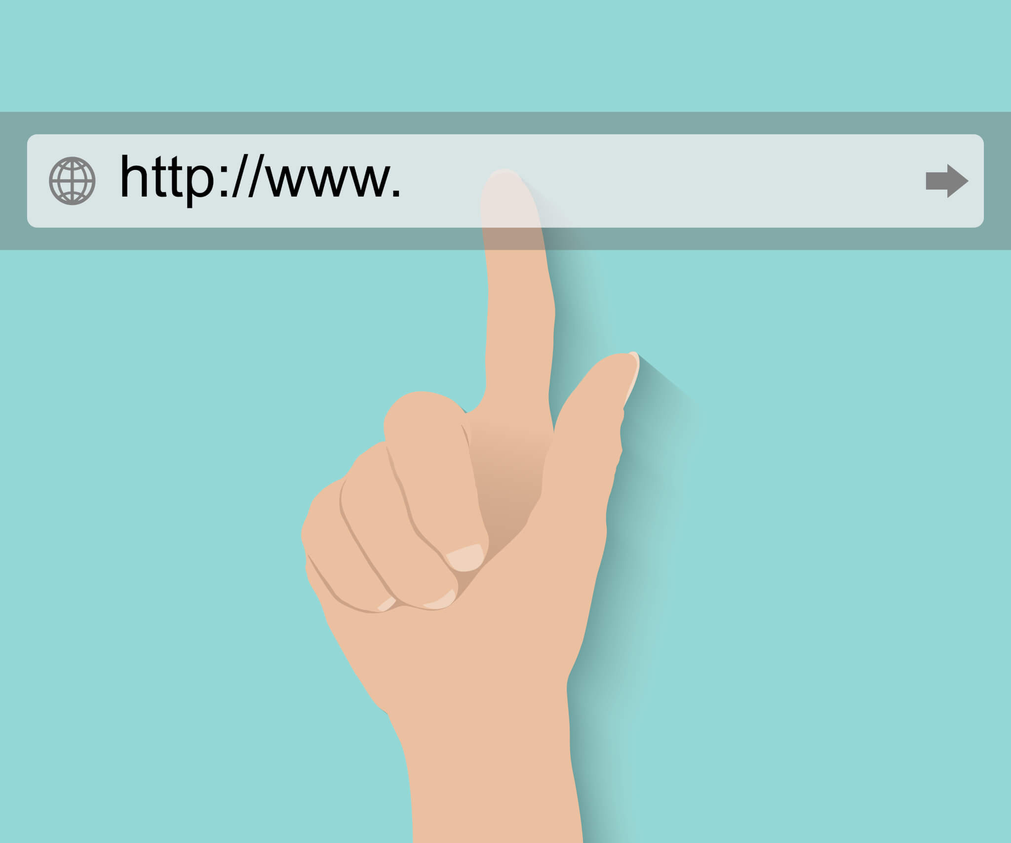 A cartoon hand pointing to the URL bar on a website