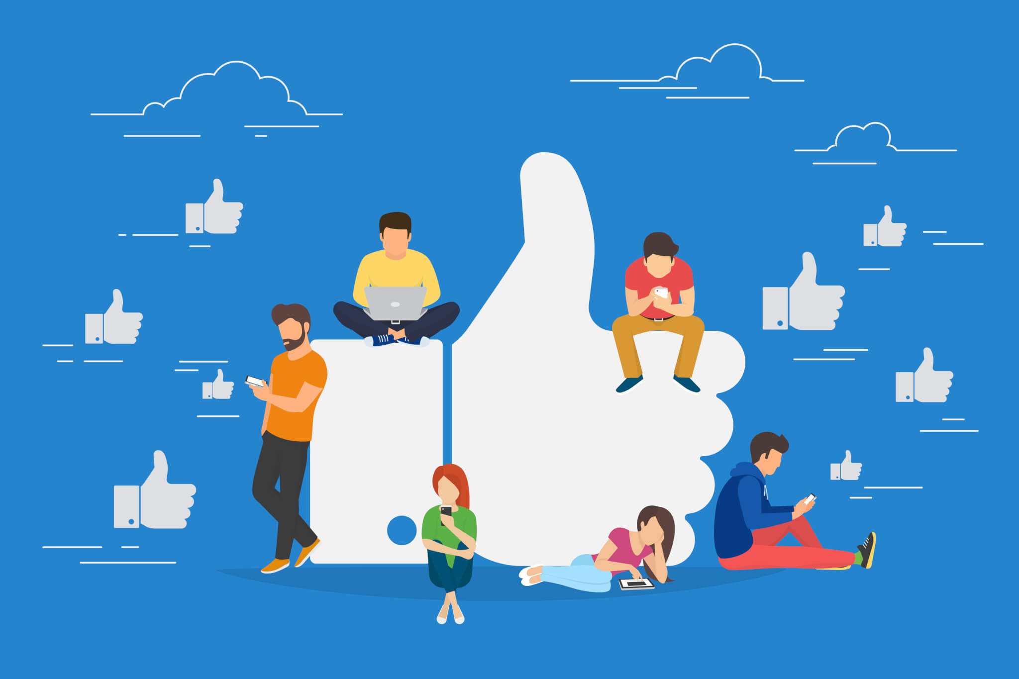 A cartoon of a Facebook like with people sitting around it on their phones