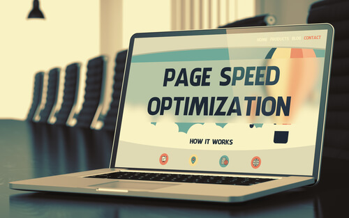 page speed optimization concept on laptop