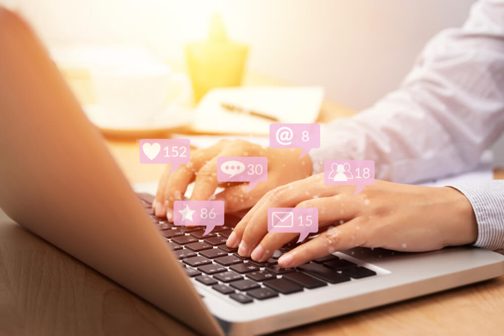 social media notifications on laptop