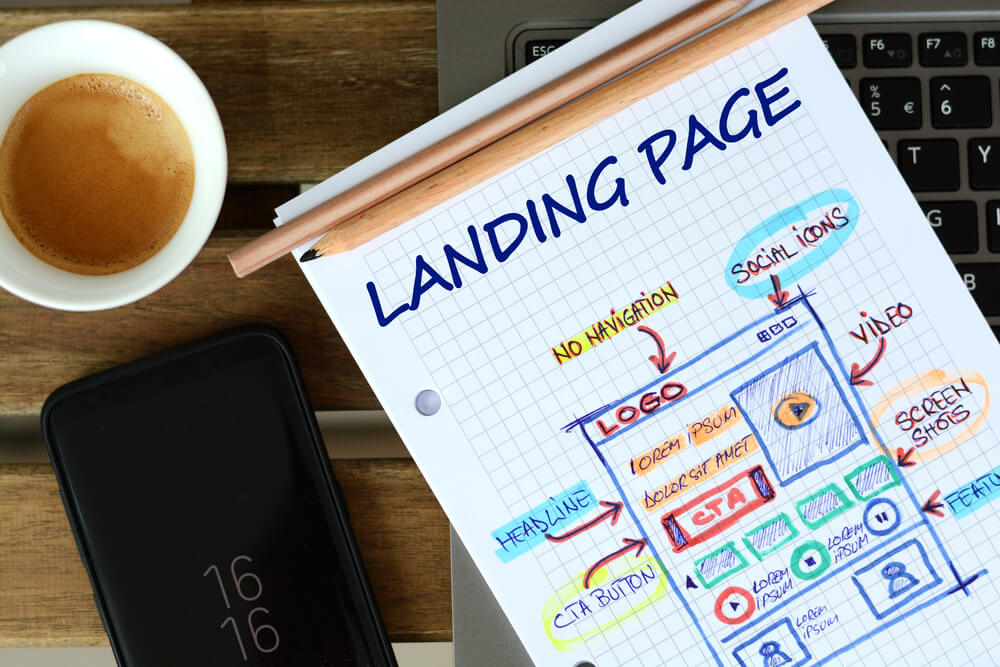 Landing Page outline showing the potential design for a landing page
