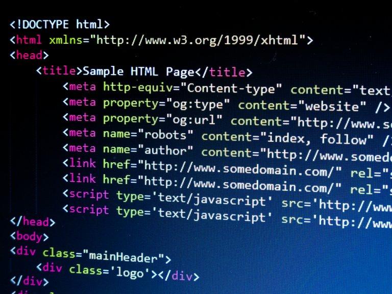 computer screen showing meta code of a website