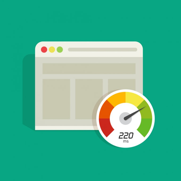graphic of a website page loading with timer icon