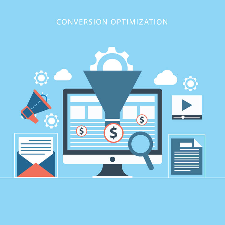 Graphic showing content, video, email marketing, to increase conversions