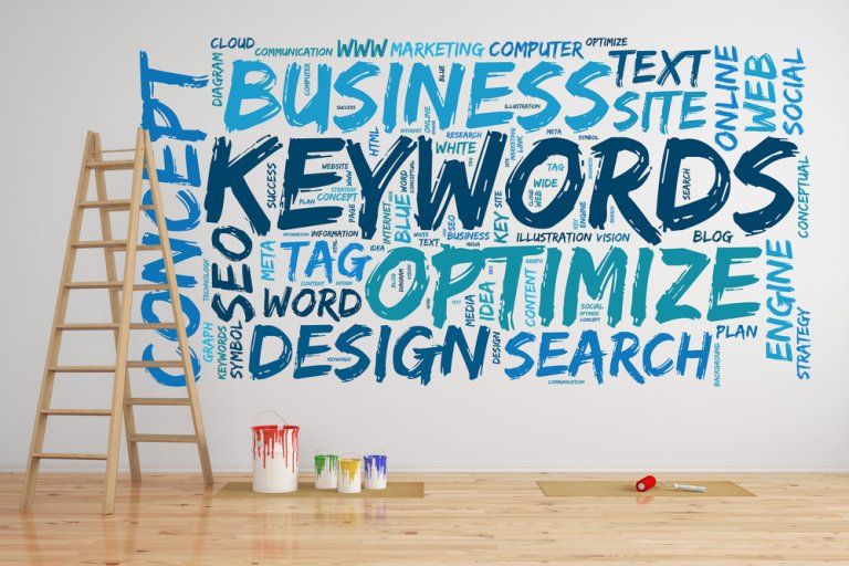 Wall with Keyword SEO terms written across it