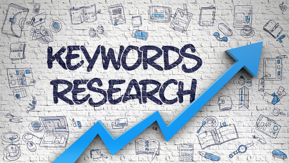 Keyword Research Graphic with upwards arrow