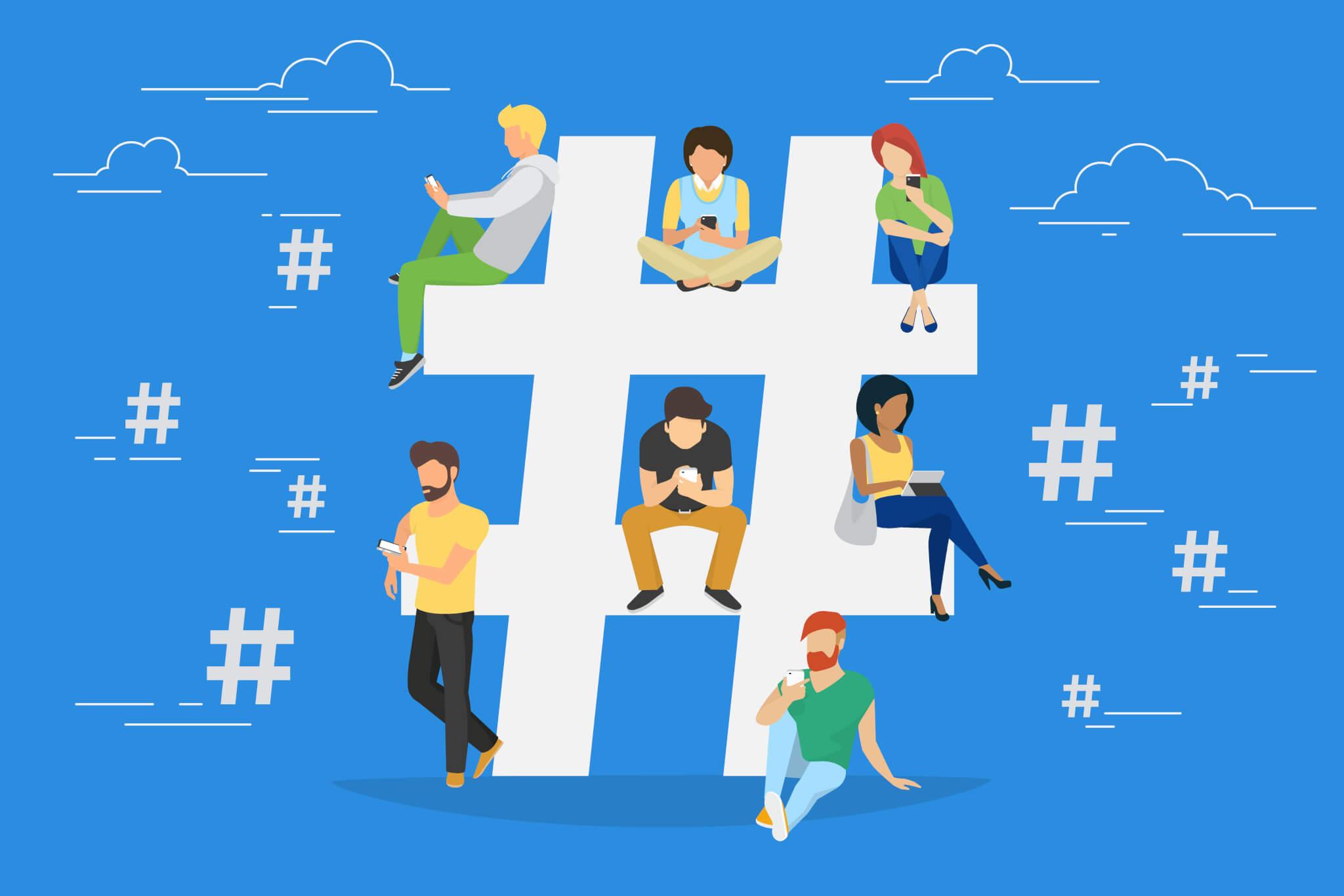 Vector illustration of engaged social media users