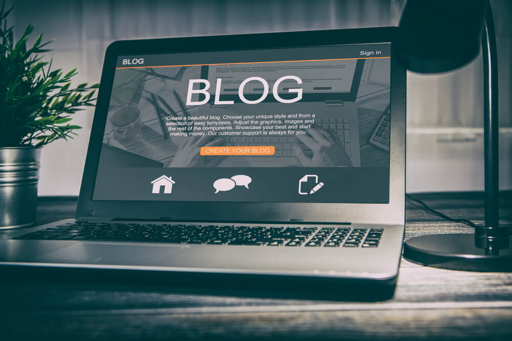 blog open on laptop screen