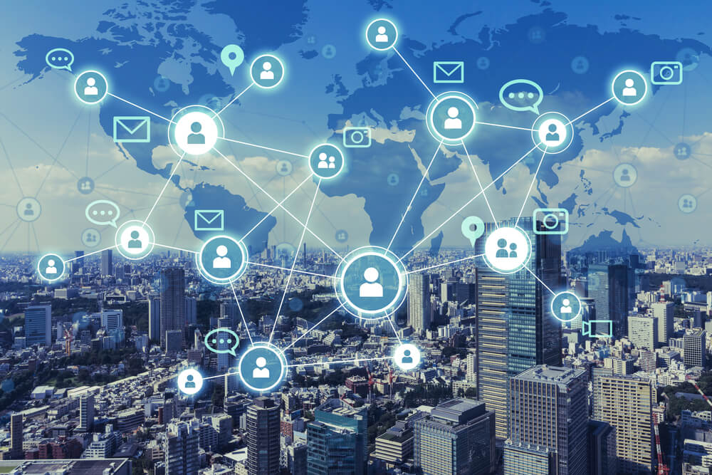 Social networking service concept. Worldwide connection. Mixed media.