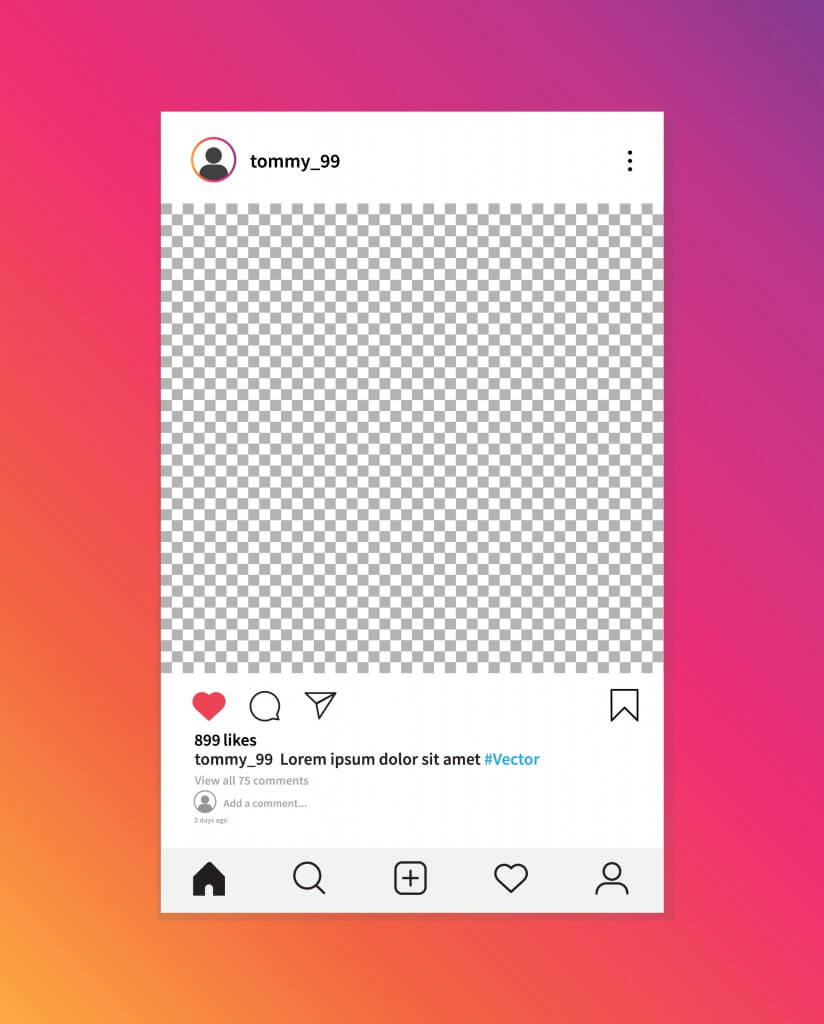 template of a post on instagram