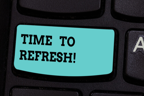 the words time to refresh on a keyboard