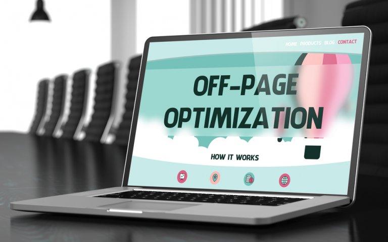 off-page optimization written on laptop screen