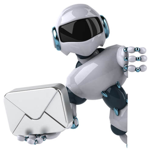 A robot holding a letter to symbolize automated emails