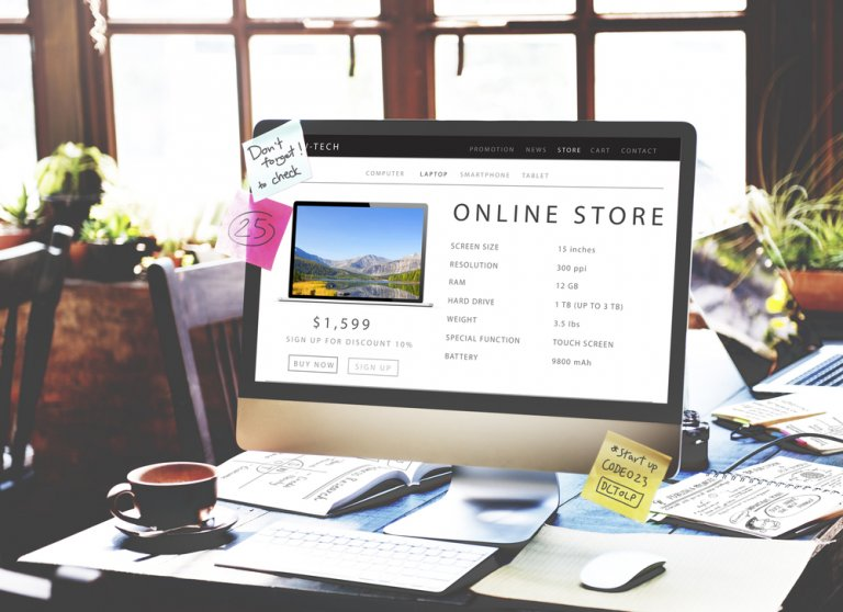 online store open on computer screen