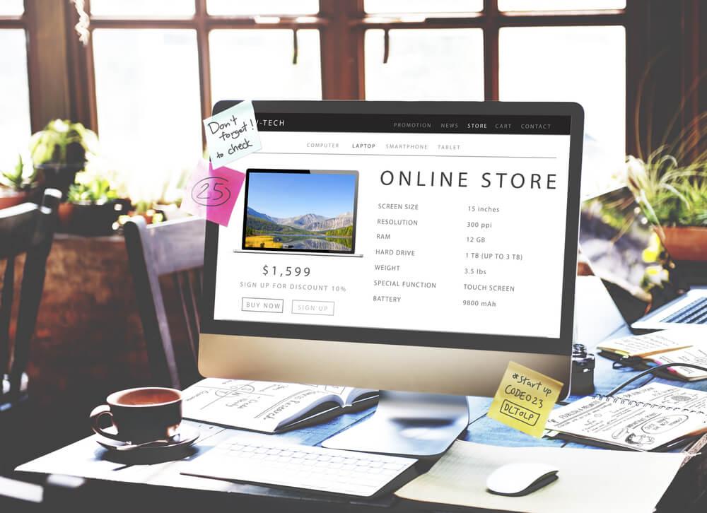 online store open on computer screen