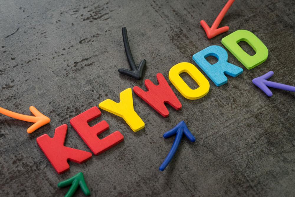 "arrows pointing to ""keyword"""