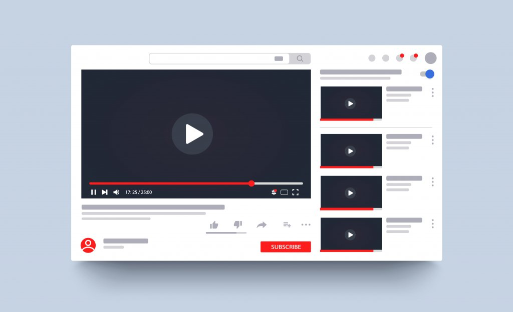 youtube layout on computer screen