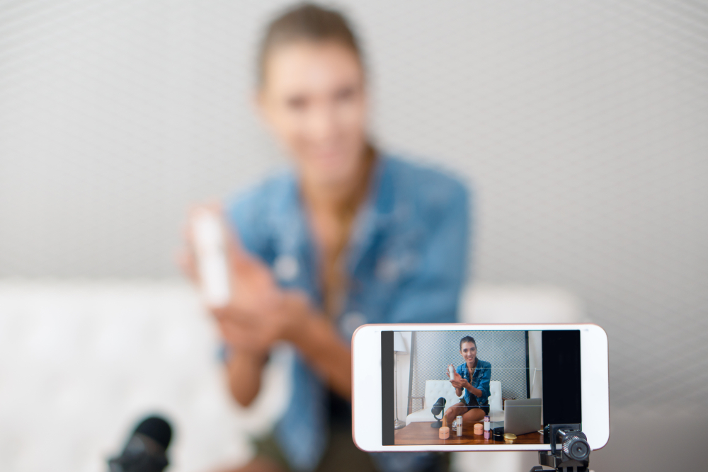 woman recording a video of herself
