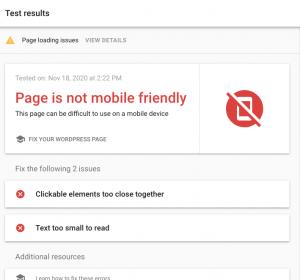 Google Mobile test- not mobile friendly
