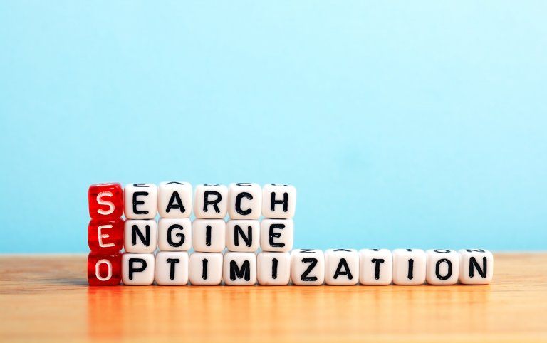 Search Engine Optimization spelled out using word blocks