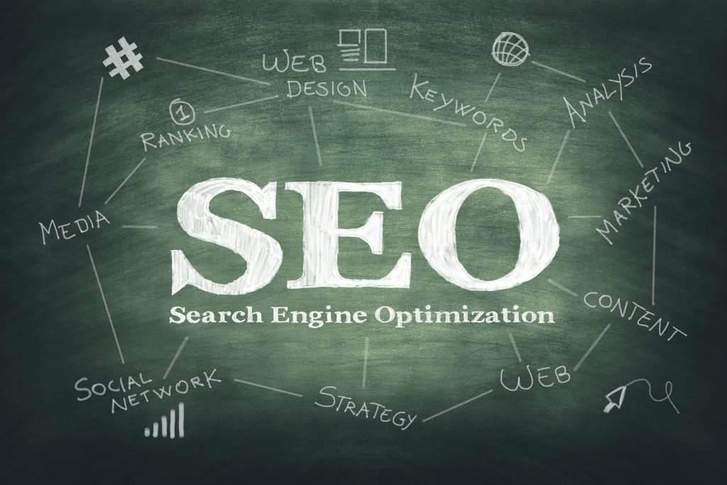 Search Engine Optimization Graphic with categories branched out