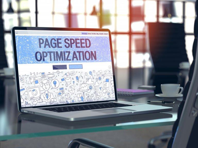 page speed optimization on laptop