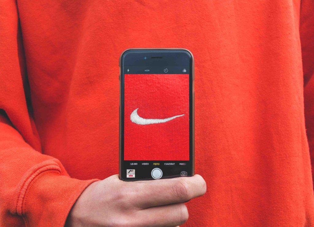 nike logo through iphone camera