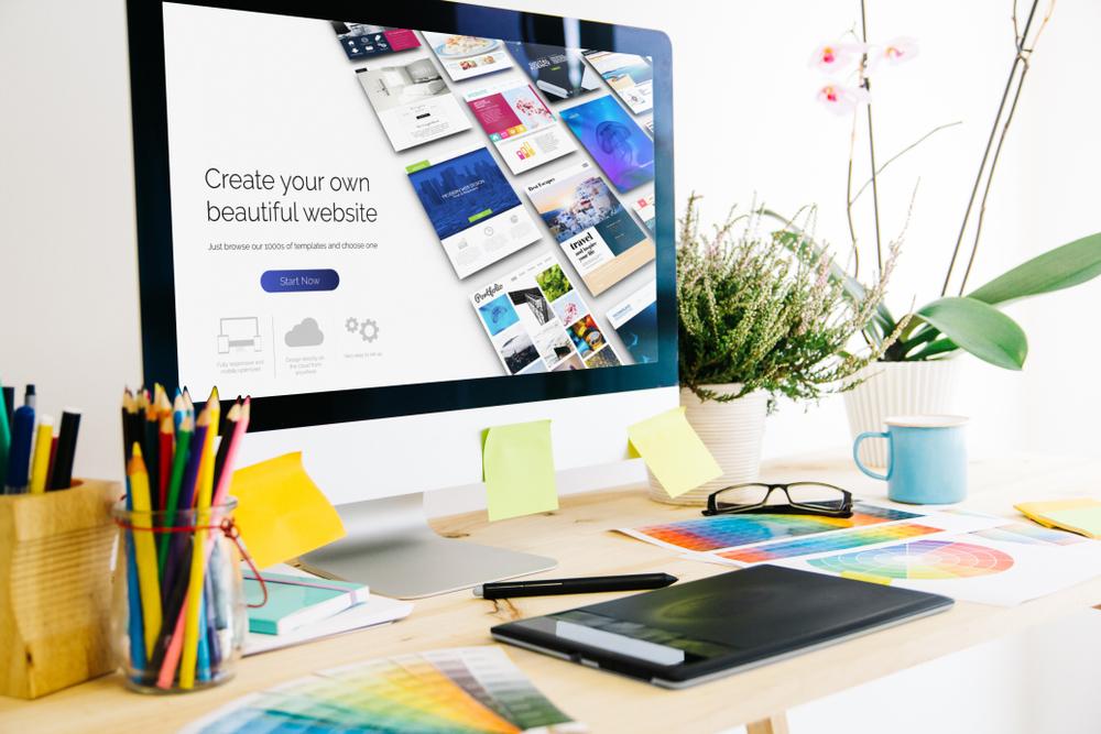 website creation on desktop computer