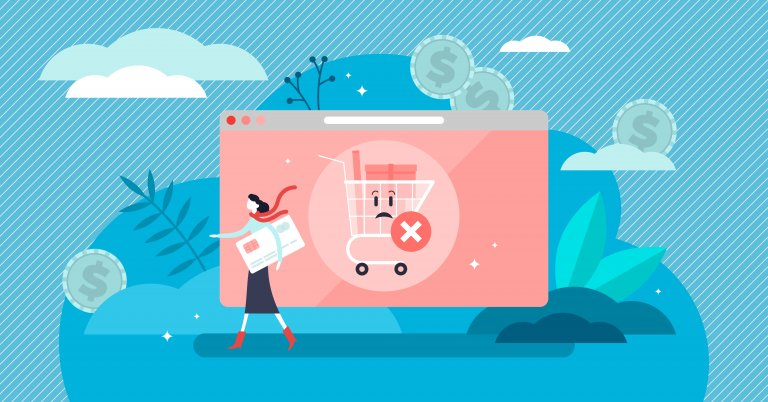An illustration of an abandoned cart on an eCommerce site. You can see a woman with a big credit card walking away from an open browser window. The window has a shopping cart with a sad face and a big X mark over it.
