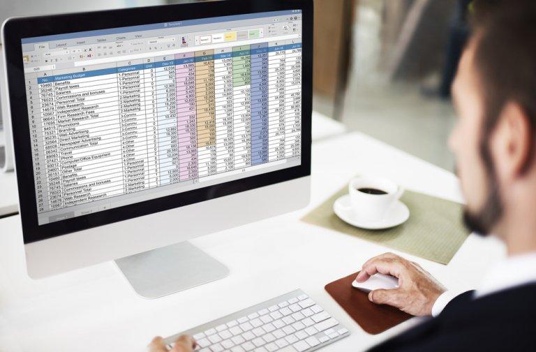data spreadsheet on computer