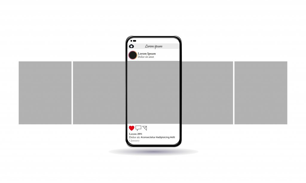 An illustration of a smartphone with Instagram open. The picture on Instagram is of a gray screen, and the phone has two gray boxes on each side. It's mean to visualize social media scrolling.