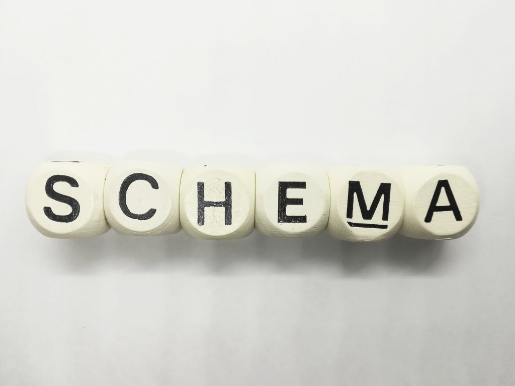 schema spelled out with blocks