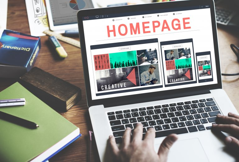 homepage on laptop