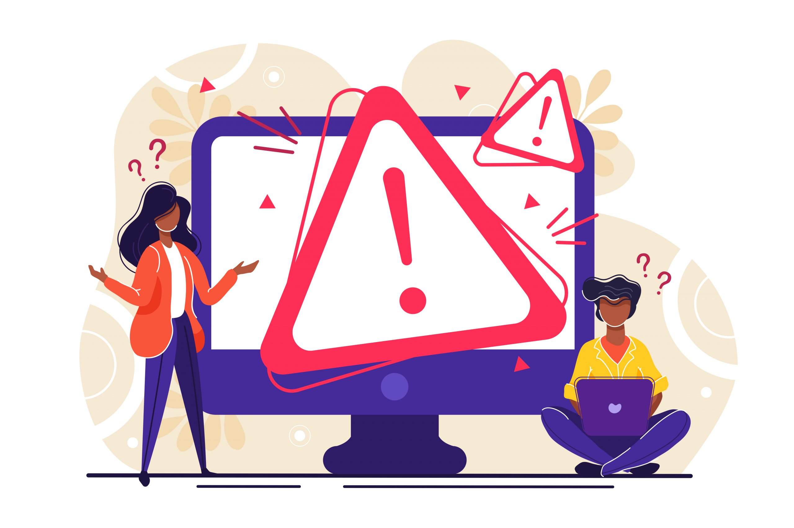 Two people stand next to a computer monitor with a red caution triangle displayed in the middle. This graphic is meant to represent a website error.