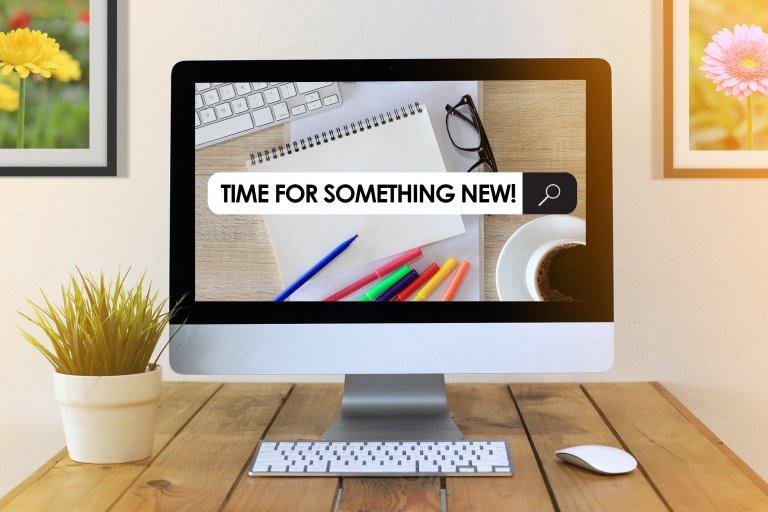 Desktop with a new website
